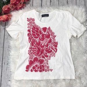 Marimekko Pink Floral Graphic Crewneck Tee